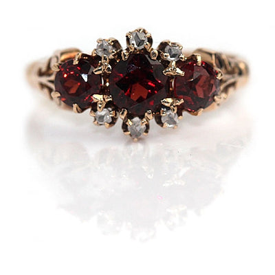 Victorian Garnet Rose Cut Diamond Ring - Vintage Diamond Ring