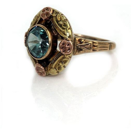 1940's Vintage Blue Zircon Engagement Ring .90 Carat