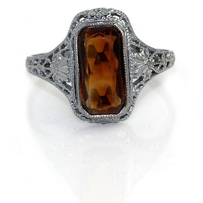 Vertical Citrine Engagement Ring - Vintage Diamond Ring