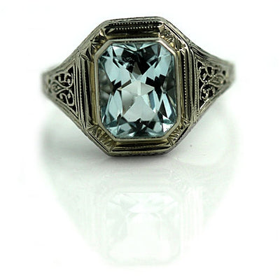 Bezel Set Aquamarine Engagement Ring with Filigree - Vintage Diamond Ring