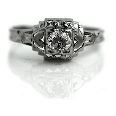 Old Mine Cut Diamond Engagement Ring with Heart Motif