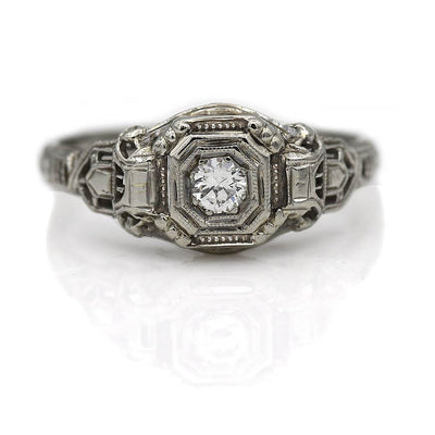 Solitaire Filigree Engagement Ring