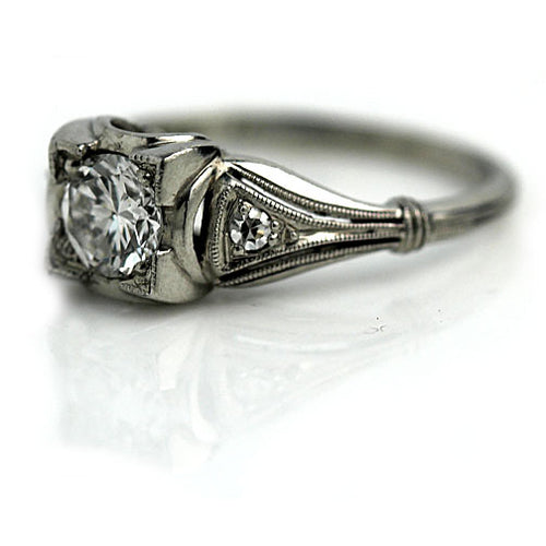 Art Deco Diamond Engagement Ring .45 Carat