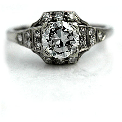 Platinum Halo Engagement Ring with Side Tiered Diamonds