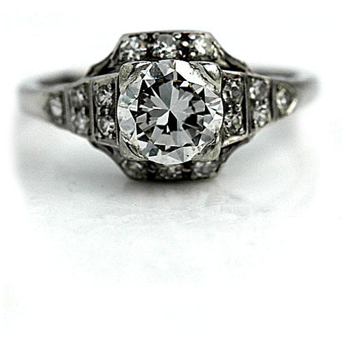 1.00 Carat Art Deco Platinum Engagement Ring