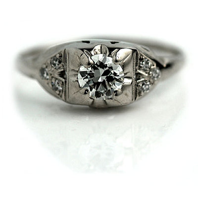 European Cut Square Engagement Ring with Side Stones