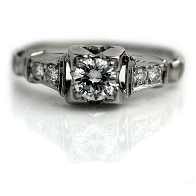 Transitional Cut Diamond Engagement Ring with Side Stones
