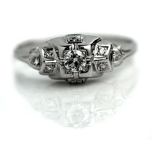 Art Deco .18 Carat Diamond Engagement Ring