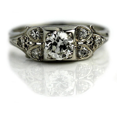 Estate Diamond Engagement Ring with Side Stones