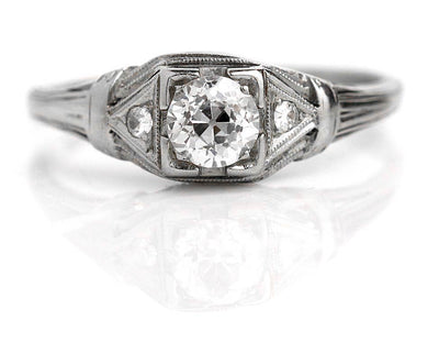 Art Deco Mine Cut Diamond Engagement Ring Circa 1930s