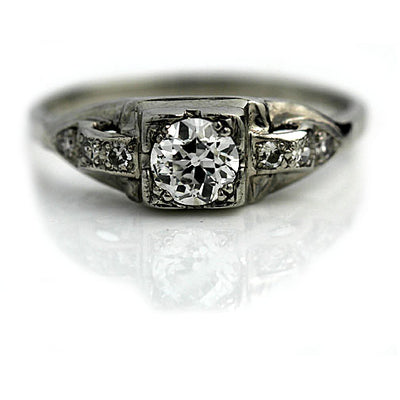 1930s Platinum Diamond Engagement Ring with Side Stones