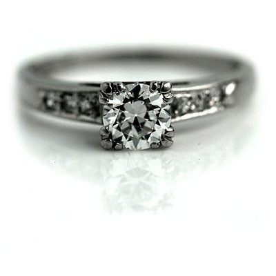 1940s Old European Cut Platinum Diamond Engagement Ring