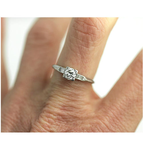 European Cut Engagement Ring with Baguettes