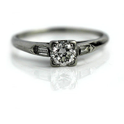 Vintage Engagement Ring with Baguettes