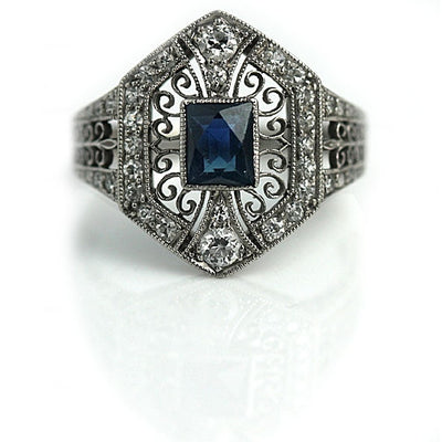 Art Deco Tiffany & Co Sapphire Engagement Ring - Vintage Diamond Ring