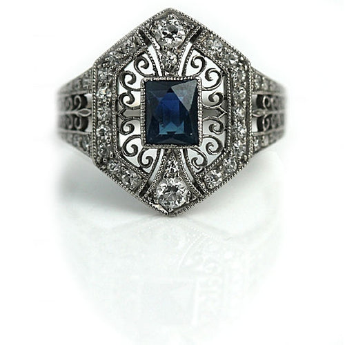 Tiffany & Co Art Deco Sapphire Diamond Engagement Ring