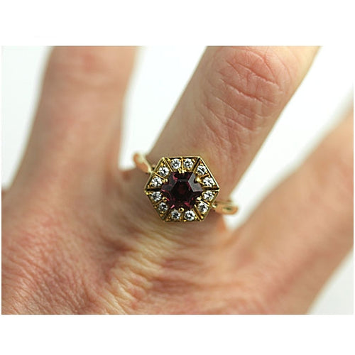 Tourmaline & Diamond Halo Engagement Ring