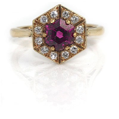 Tourmaline & Diamond Halo Engagement Ring - Vintage Diamond Ring