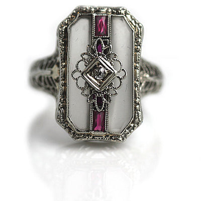 Carved Quartz Crystal & Ruby Engagement Ring - Vintage Diamond Ring