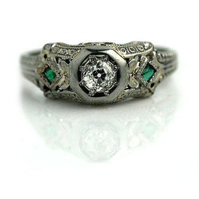 Art Deco Mine Cut Diamond and Emerald Engagement Ring - Vintage Diamond Ring