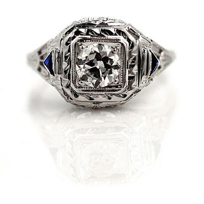 Antique European Cut Diamond & Sapphire Engagement Ring - Vintage Diamond Ring