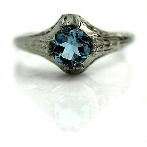 Art Deco Aquamarine Engagement Ring .85 Carat