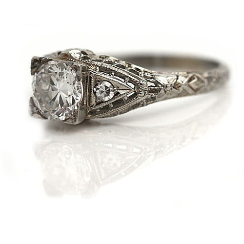 Antique Open Work Gallery Engagement Ring with Side Stones