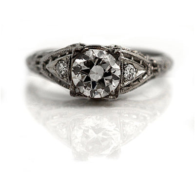 Vintage Engagement Ring with Side Stones