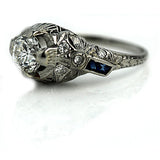 Art Deco Diamond and Sapphire Ring .80 Carat