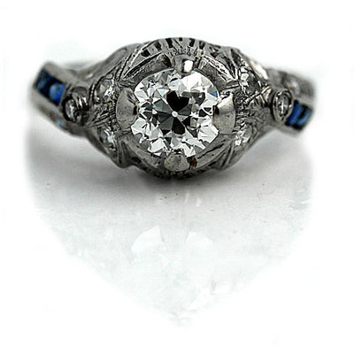 European Cut Diamond & Square Cut Sapphire Engagement Ring