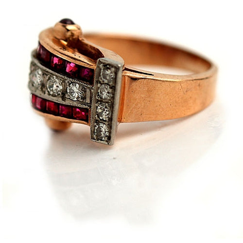 Retro Ruby Diamond Rose Gold Ring Circa 1940's