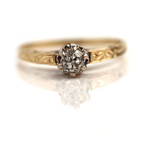 Mine Cut Diamond Engagement Ring with Engraved Band