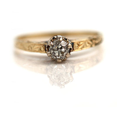Old Mine Cut Diamond Engagement Ring with Engraved Band