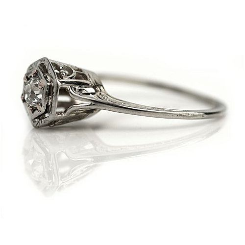 Art Deco Diamond Engagement Ring .35 Carat