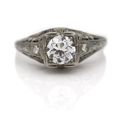Antique Engagement Ring with Filigree Engravings