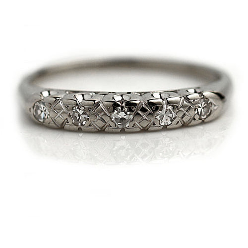 5 Stone Vintage Diamond Wedding Band Circa 1940's