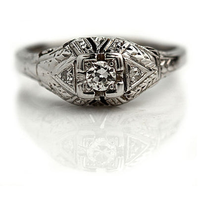 Hand Crafted Art Deco Diamond Engagement Ring