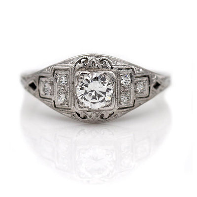 Transitional Cut Engraved Diamond Engagement Ring