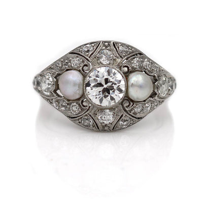 Edwardian Diamond & Pearl Engagement Ring