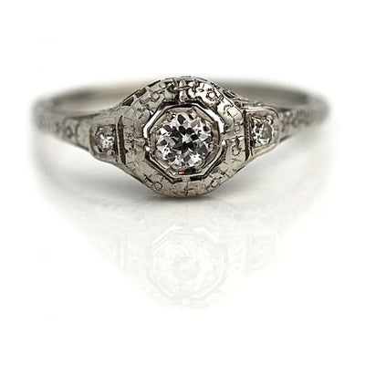 Art Deco European Cut Engagement ring