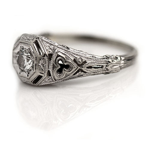 Art Deco Diamond Engagement Ring .20 Carat