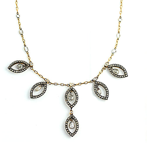 Vintage Rose Cut Diamond Drop Necklace
