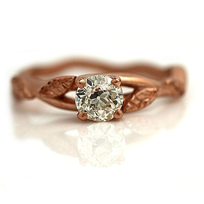Nature Inspired Rose Gold Leaf Solitaire Engagement Ring