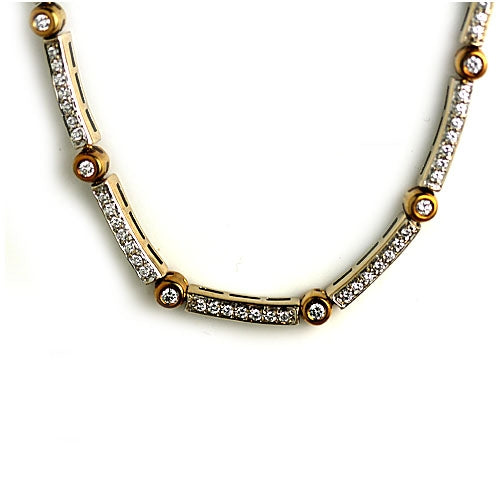 Estate Diamond 18 Kt Two-Tone Necklace 4.50 Carat