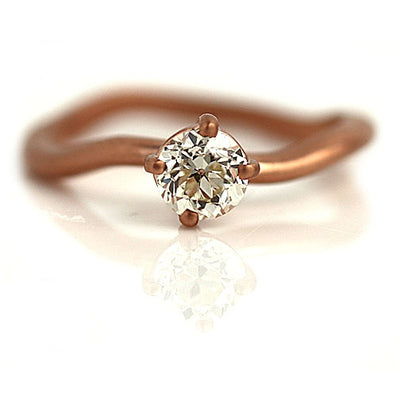 Carved Wave Diamond Engagement Ring
