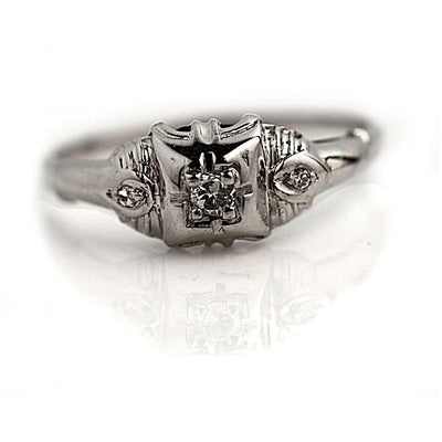 Antique Old Mine Cut Diamond Promise Ring