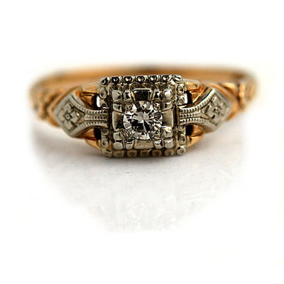 Intricate 1940s Diamond Engagement Ring