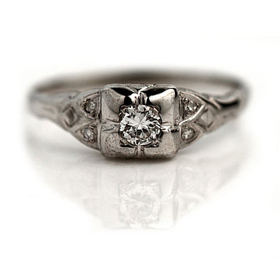 1930s Diamond Engagement Ring with Side Stones