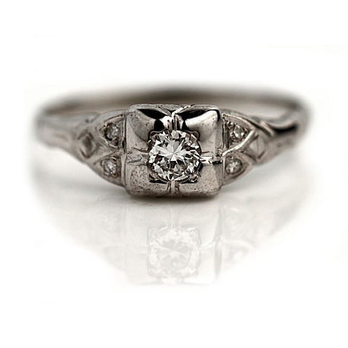 1930s Engagement Ring with Side Stones