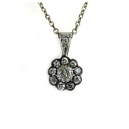 Antique .50 Carat Old Mine Diamond Pendant